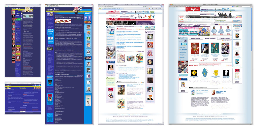 Homepage stages from 2005 – 2010
