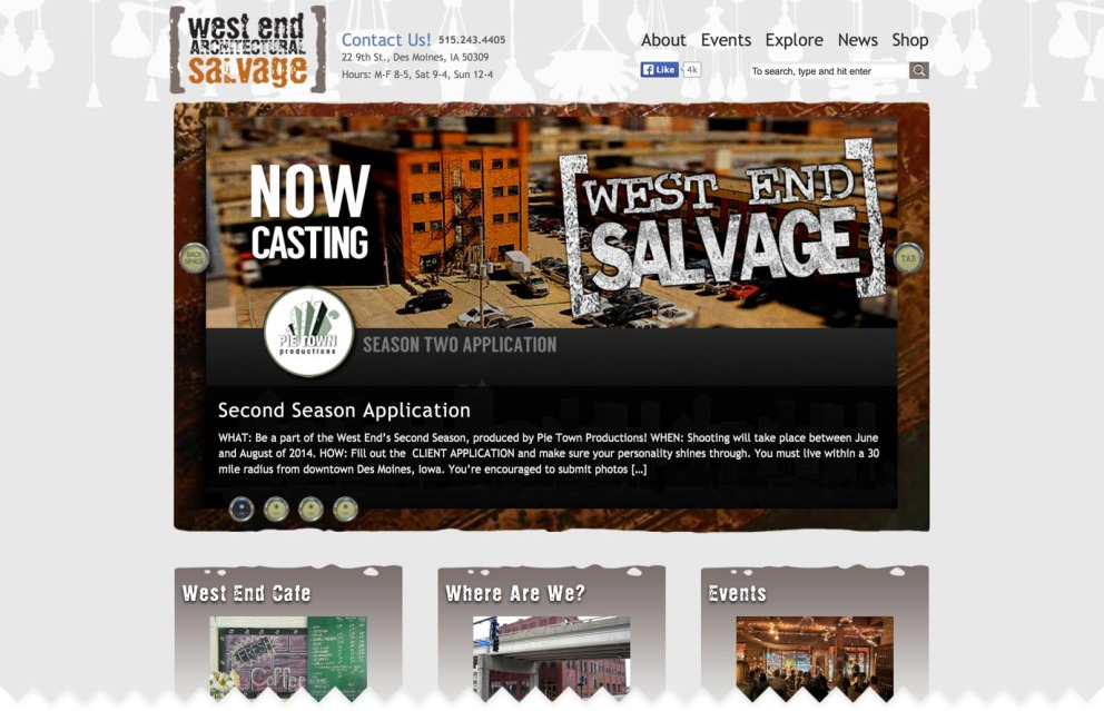 Home page with promo for auditions to be on the Second Season of West End Salvage