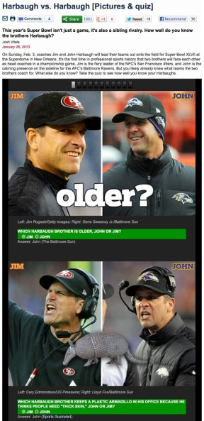 Super Bowl XLVII Harbaugh vs. Harbaugh quiz