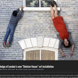 "On the ledge of London's new ""Dalston House"" art installation"